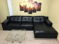 Huge Black Leather Family Corner Sofa
