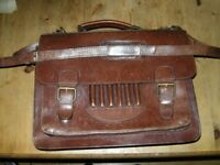 Thick leather shoulder bag/satchel in chestnut brown with laptop insert