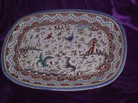 PORTUGAL BERARDOS POTTERY HAND PAINTED LARGE TRAY SIZE 13 X 9.12 INCH IN VGC