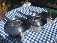 3x stainless steel Judge saucepans