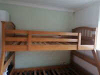 Trio wooden double and single bunk bed
