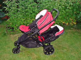 BRITAX B-Dual Red Double Seat Tandem Stroller / Pushchair