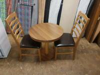 Walnut table and 2 chairs