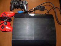 ps3 slim 12gb console 22 games 2 controllers 2 mics charge stand etc cheap working look