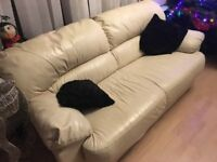 Ivory leather deep cushioned sofa - lovely
