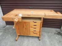 Genuine Sjobergs woodworking bench with two clamps - little used.