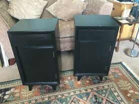 Pair of Solid Wooded Vintage Bedside Cabinets with drawer&cupboardH26.5in/67cmW15in/38cmD13.5in/34cm