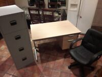 Office table, chair and filing cabinet for sale!