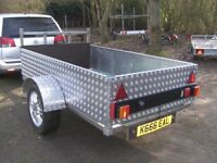 UNIQUE 7X4 TRAILER STAINLESS STEEL CHASSIS - ALLOY CHEQUER PLATE SIDES ETC..