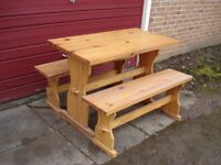 Pine Dining Table and Bench Set solid thick pine