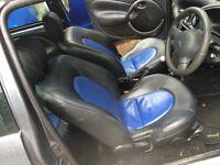 KA SPORT, black and blue leather seats