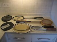 2 x Badminton Racquets, 2 x Squash Racquets, 2 x Tennis Racquets, used but reasonable condition