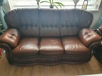 Chocolate brown sofa 3 seater and 2 armchairs. Manchester.