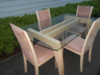 Wooden glass dining table with 4 chairs