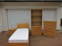 Quality bedroom furniture Ex Gillies , single bed, 5 drawer & 3 drawer chest, bedside table and lamp