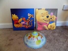 Winnie The Pooh Canvas Pictures and Lightshade Set