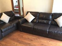 Leather sofas, excellent condition , 1 three seater and 1 two seater. Dark Brown Italian Leather
