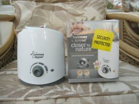 TOMMEE bottle and food warmer and single bottle steriliser in boxes. as new c/w instructions