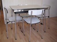 Vintage Tavo Belgium Original 1950/60's Extending Small Dining Table and 4 chairs