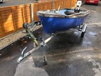 Boat Trailer, 10ft Boat Project and 4hp Johnson Outboard