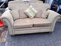 SOFA BED AND TWO MATCHING ARM CHAIRS