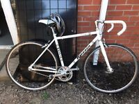 Rossin Prestige Single Speed/Fixed Gear Bike, White - EXCELLENT CONDITION + UVEX FP1 Carbon effect