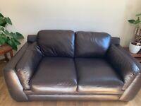 Reids 2 Seater Chocolate Brown Leather Sofa