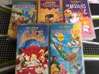 5 Disney classic vhs retro videos jungle book aristocrats Robin Hood Alice in wonderland