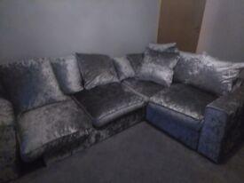 Crushed velvet corner settee.