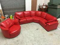 RED LEATHER CORNER SOFA AND CUDDLE SWIVEL CHAIR GOOD CONDITION DELIVERY POSSIBLE ALL UK