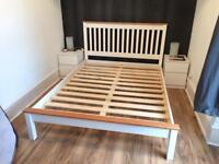 Wood Double Bed Frame and Side Tables