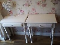 Beautiful shabby chic pair of bedside tables / lamp side tables