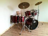 Pearl export series drum kit with extras