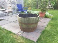 Large oak planter half barrel