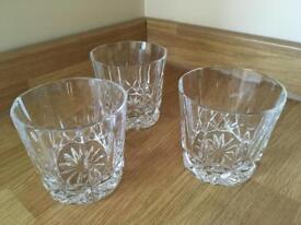 3 x Crystal cut whiskey tumblers