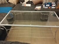 Glass/Silver coffee table