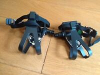 Pedals with toe clips, new and unused
