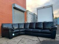 SOLD Absolutely gorgeous Black leather corner sofa delivery 🚚 sofa suite couch furniture