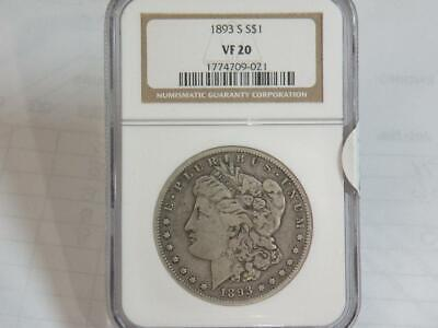 1893 S $1 MORGAN DOLLAR NGC VF20