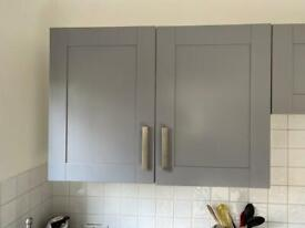 Grey double kitchen wall cupboard