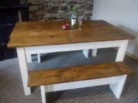 solid country dining table set