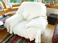 Cream cotton throws (2 available), 100% Indian cotton