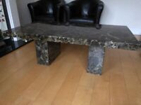 SOLID MARBLE STONE LIVING ROOM COFFEE TEA TABLE BROWN