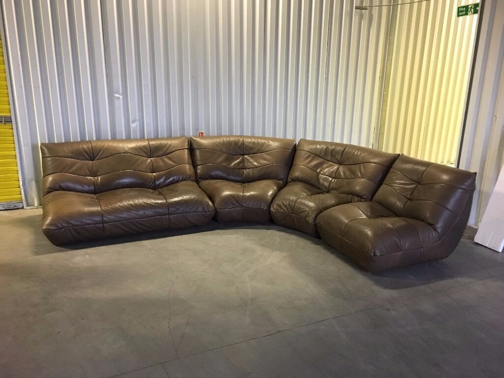 dfs nimbo budget ligne roset togo brown leather corner in very good condition delivery. Black Bedroom Furniture Sets. Home Design Ideas