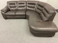 LOVELY TAUPE FULL LEATHER CORNER SOFA SUITE