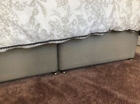 Super King Size Divan Bed Base in Grey Faux Leather