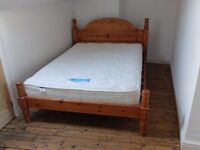 GREAT SOLID PINE CHUNKY DOUBLE BED FRAME - NEAR LEEDS CITY CENTRE