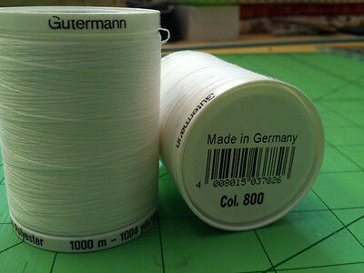 Sewing Thread Gutermann Sew All Thread Polyester White 1000m 2T1000WHT 800