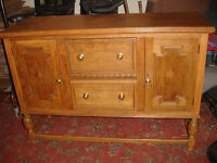 Solid Rustic Oak 2 Door 2 Drawer Large Sideboard Cabinet Cupboard Storage Unit