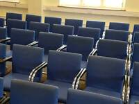Blue stockable conference chairs